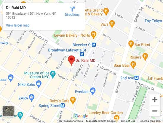 Directions to Dr. Rahi's Integrative Aesthetics™ Specialist in SoHo, NY